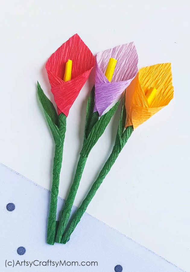 Make your own pretty blooms out of crepe paper with this Crepe Paper Calla Lily Flower Craft! Put them in a vase on your desk or make a bouquet to gift!