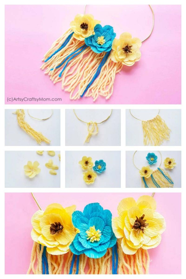Let your walls bloom with this DIY Yarn Floral Wall Hanging! Easy to make and the perfect way to bring spring and nature indoors!