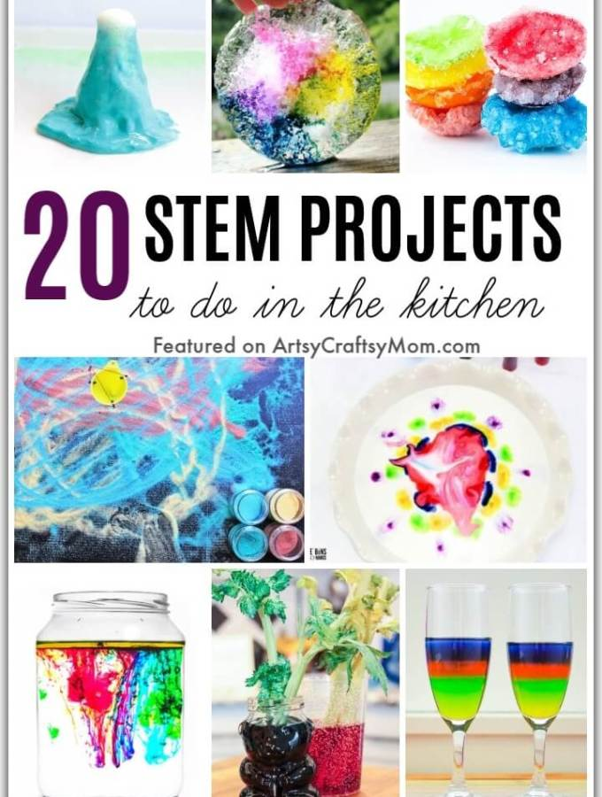 Getting bored at home? Learn and have fun at the same time using things already in your home, with these 20 STEM Kitchen Science Projects for Kids!