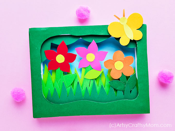This 3D Flower Garden Shadow Box Craft is the perfect way to set up your own patch of green in your home - with little more than paper and foam board!