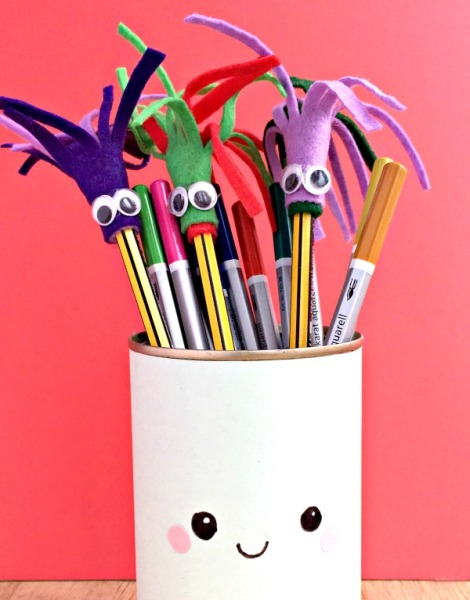 Make school work at home more interesting with these DIY pencil toppers! Easy for kids to make for themselves and give their friends too!