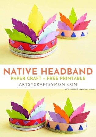 Celebrate Native American culture and learn about Thanksgiving with this fun Native American Headband! Bright, colorful and easy to make!