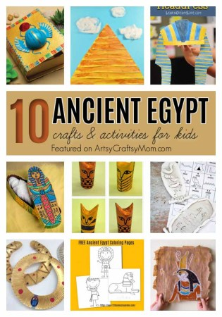 Celebrate King Tut Day with 10 Fun Ancient Egypt Crafts for kids - Mummies, Pyramids, Pharaohs, Hieroglyphics, and more!