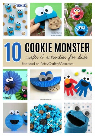 Celebrate the birthday of everyone's favorite blue monster with a voracious appetite with these 10 Fun Crafts for Cookie Monster Day