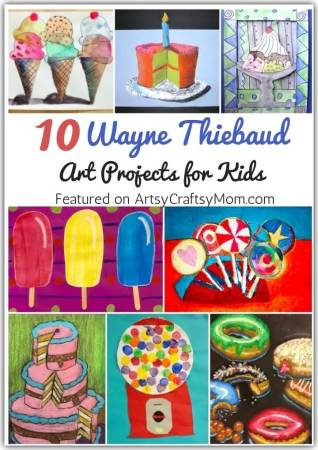 As he turns 100 this month, let's celebrate Thiebaud, the father of the food art trend, with some fun Wayne Thiebaud Art Projects for Kids!
