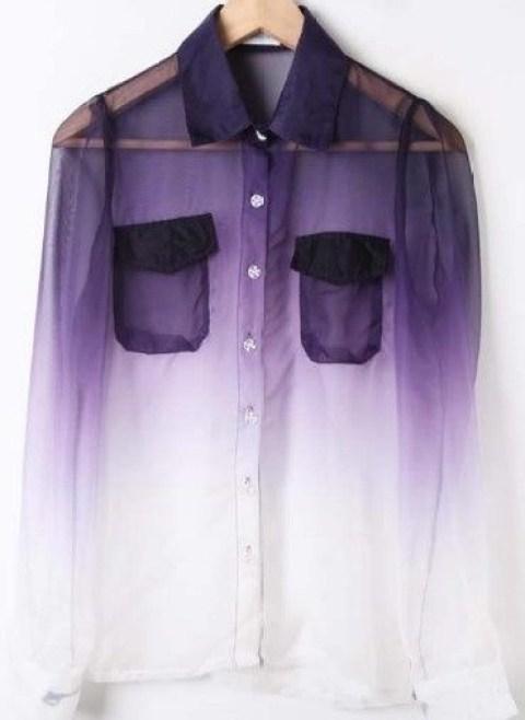 Purple White Gradient Long Sleeved Blouse