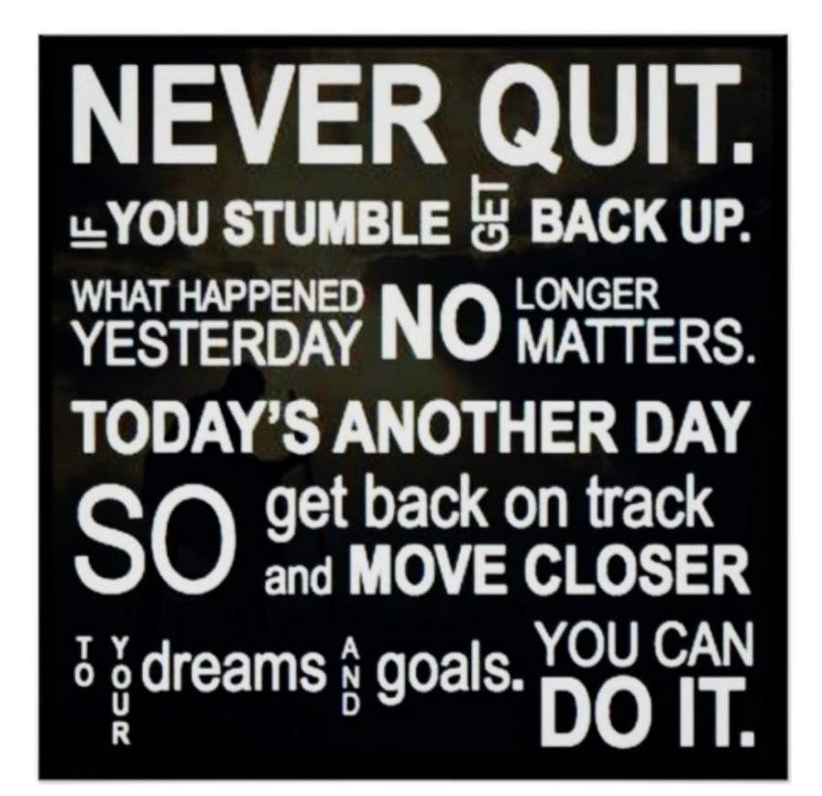 Remember, never quit! You can do it quotes