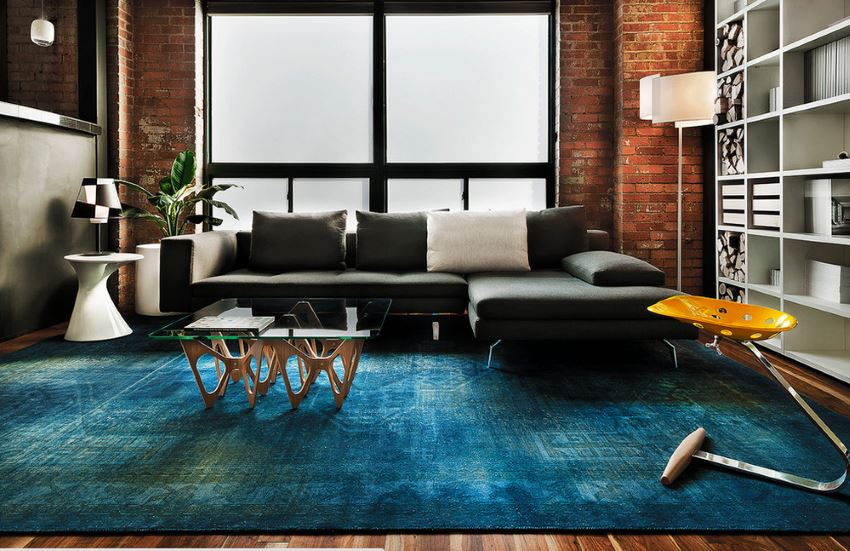 blue overdyed area rug modern living room