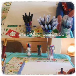 Seance mixte Art-Thérapie Evolutive et Sophrologie enfants au cabinet de Carngnan-de-Bordeaux