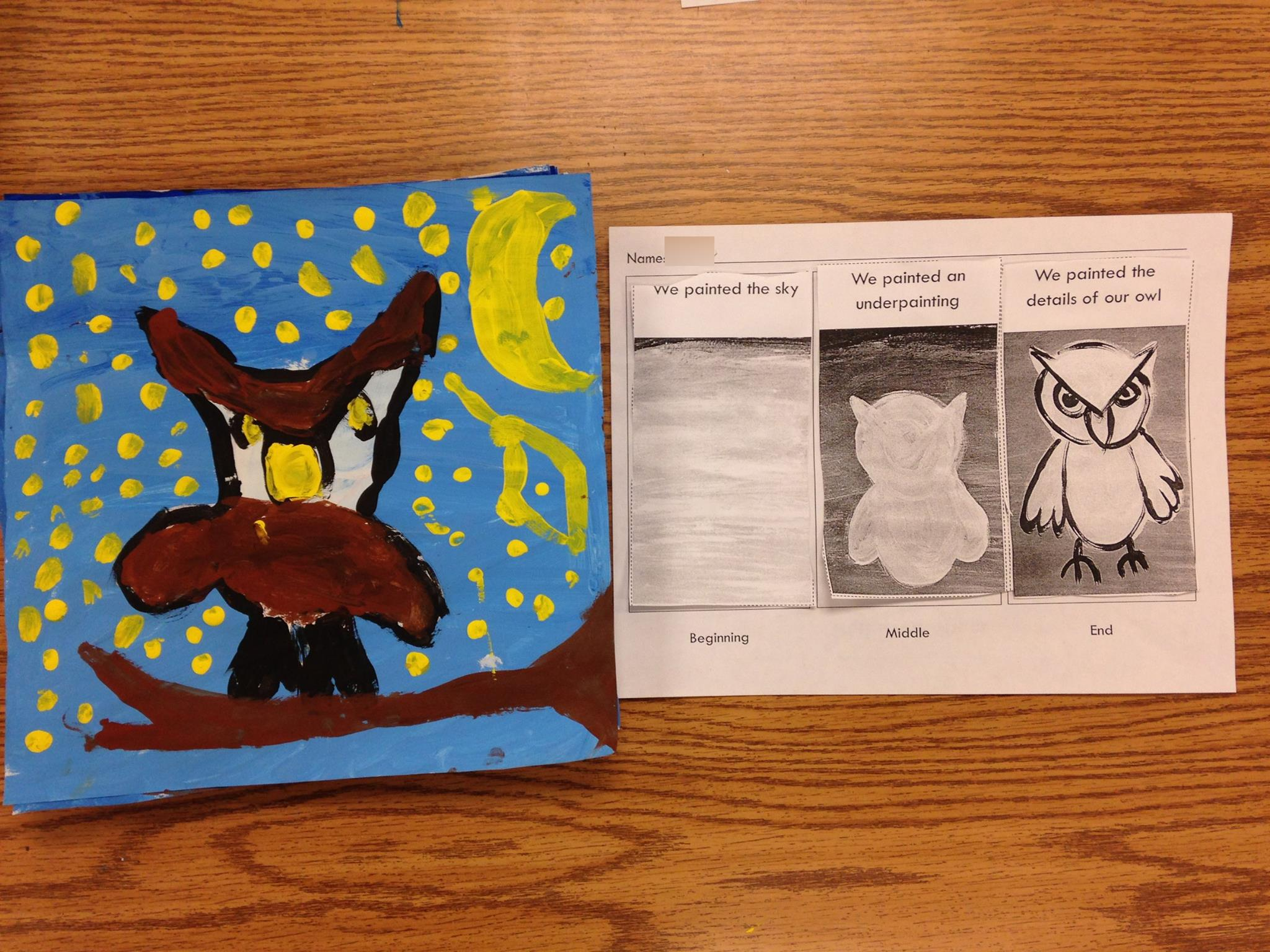 Kindergarten Owl Paintings Smart With Art