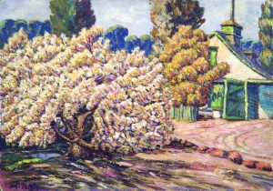 Moses Tladi, <i>Cherry tree and old carriage house at Lokshoek</i>, Mid 1920s. Oil on artist's board