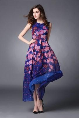 100-Silk-2015-Summer-New-Runway-Blue-Maxi-Dress-Elegant-Floral-Pink-Rose-Print-Sleeveless-Vestidos