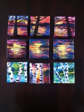 A collection of 4x4 mini acrylic on Canvas