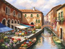Flower Market on the Canal (Giclee)
