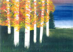 Guardains - Birch forest with spirits looking through the leaves. Hidden images appear in many of Flame's pieces.