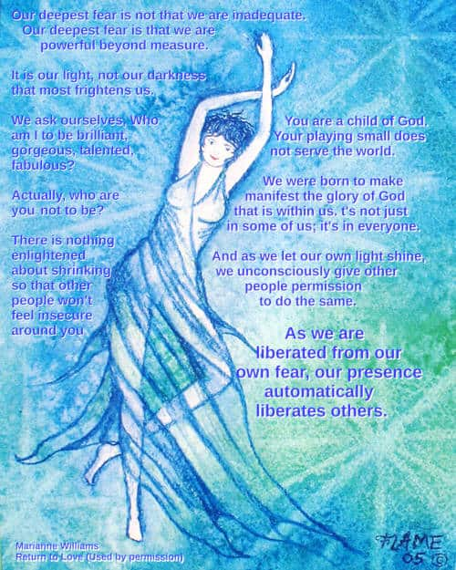 Image of dancer, quote from Marianne Williamson