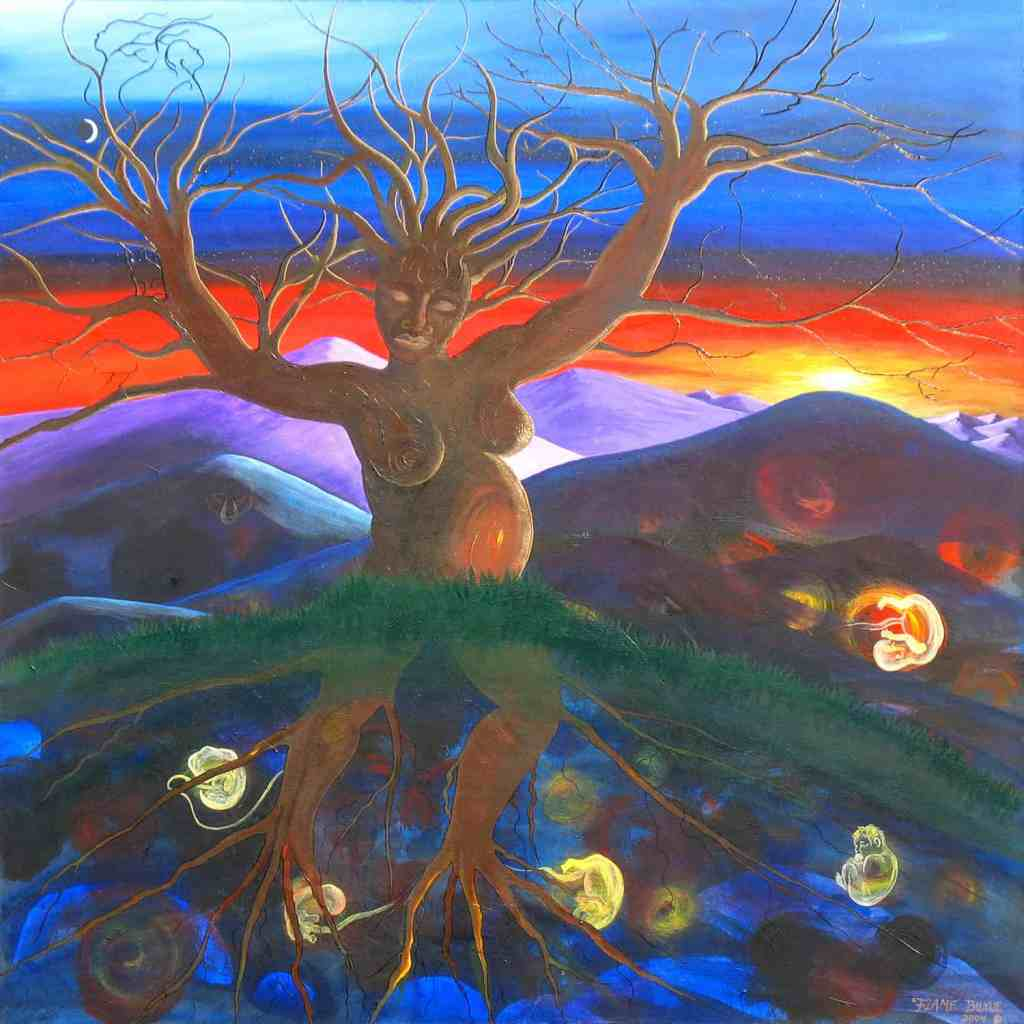 Discordant rainbow sky looks on as dark dryad nurtures her embryos for the eventual spring