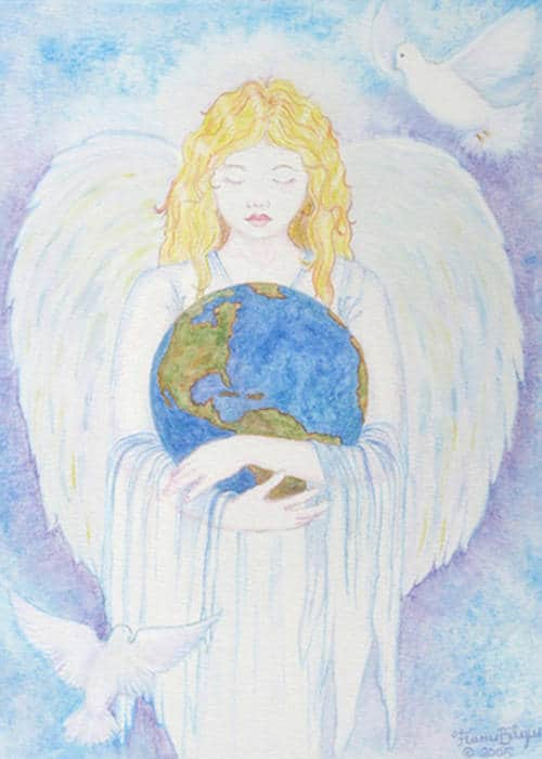 Inspiration in action - Angel holds the earth safe