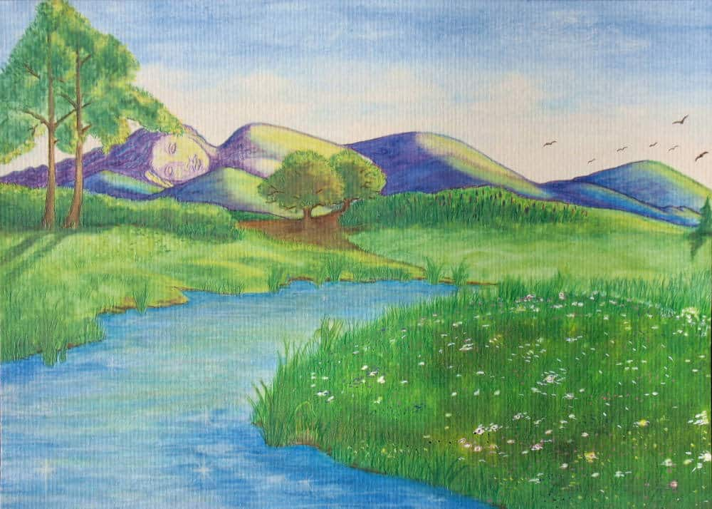 Peaceful spring meadow with sleeping giant