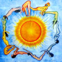 Mandala of women-goddesses performing the Yoga Sun Salutation