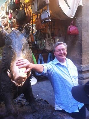 Rubbing the boar's nose