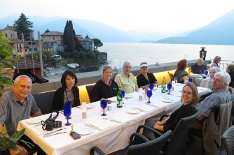 Eating on the balcony in Lake Como
