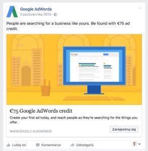 Grafiki reklamowe na Facebooku – wskazówki i wytyczne Screen google 2 294x300