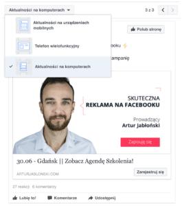 Widoki reklamy FB na różnych urządzeniach  Grafiki reklamowe na Facebooku – wskazówki i wytyczne Widoki reklamy FB na r    nych urz  dzeniach 268x300