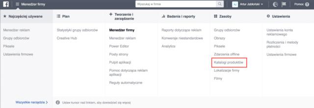 facebook business manager katalog produktów  Katalog Produktów na Facebooku – jak go zrobić [GOTOWE WZORY!] ustawienia facebook business manager 1024x354