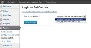 Login en wordpress a traves de un subdominio SSL.