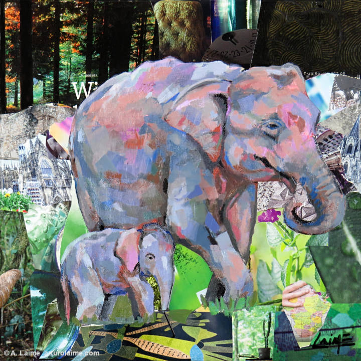 Sumatran elephants painting