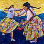 Die kämpfenden Cholitas Gemälde