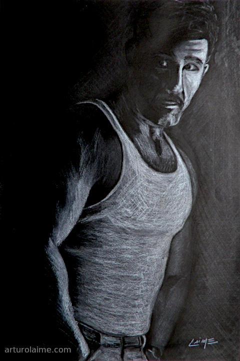 Mann im Unterhemd Kunst auf papier