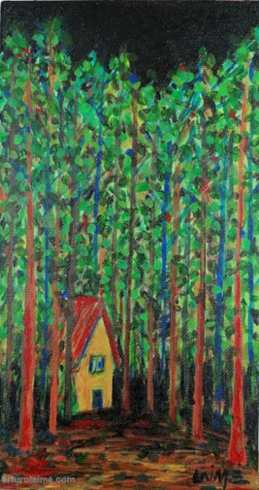 Haus im Wald Gemaelde