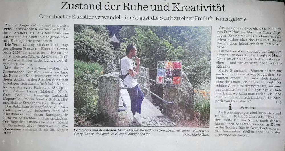 Arturo Laime im Badische Neueste Nachrichten 13072020