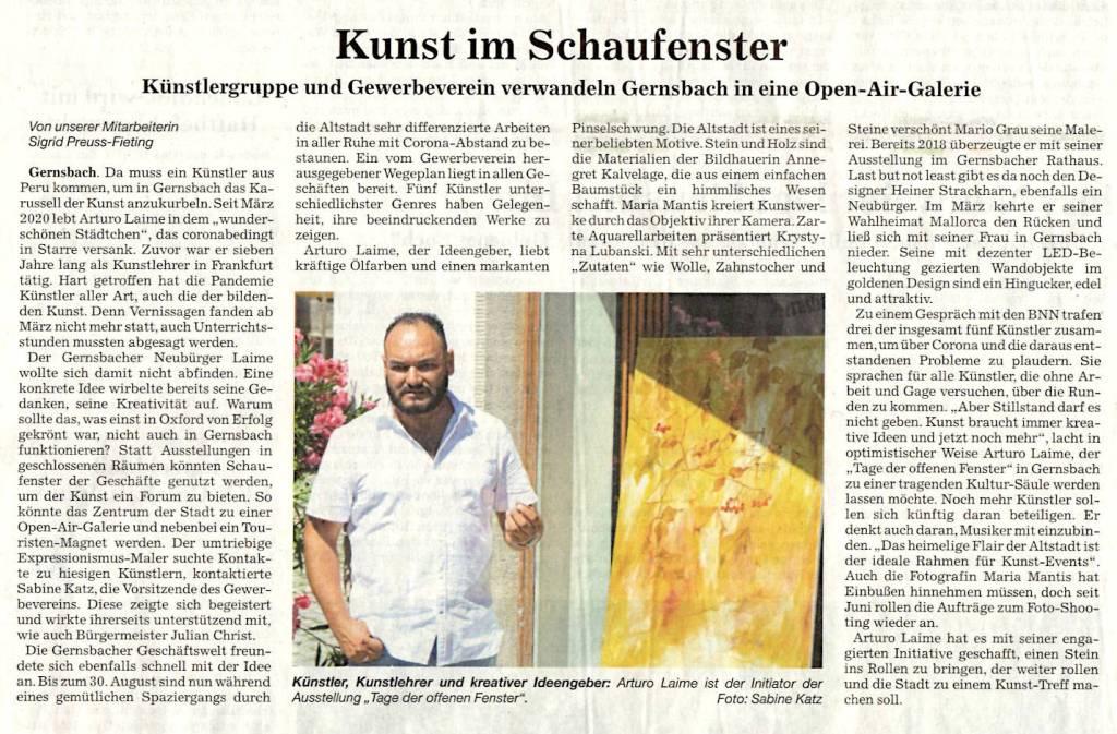 Arturo Laime im Badische Neueste Nachrichten 14082020