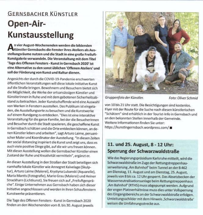 Arturo Laime im Gernsbacher Stadtanzeiger 06082020