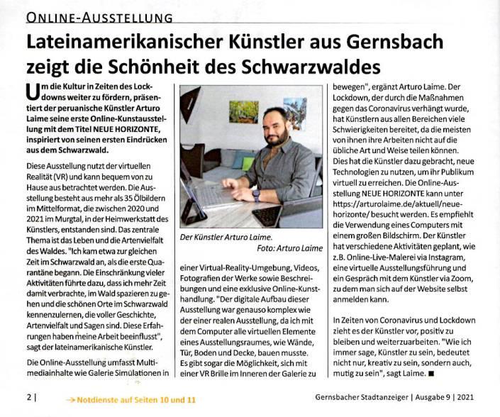 Arturo Laime in Gernsbacher Stadtanzeiger 03 März 2021