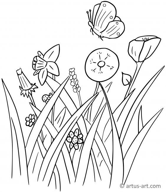 Blumenwiese Zum Ausmalen - Vorlagen zum Ausmalen gratis