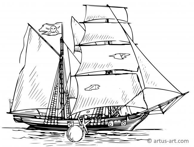 Piratenschiff Ausmalbild » Gratis Ausdrucken & Ausmalen