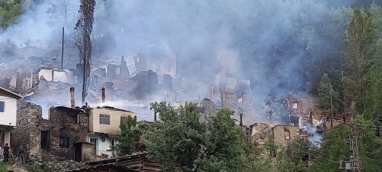 Artvin'in Yusufeli ilçesi Yüncüler köyündeki yangın kontrol altına alındı