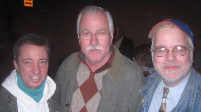 Cast member Timothy Patrick Finnegan with playwrights Mike Randall and Matt Boyle