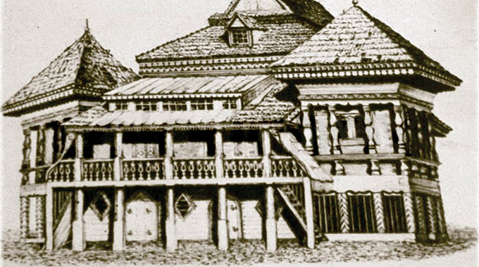 Retro photo of old wooden synagogue in Wolpa, Lithuania, early 18th century and was completely destroyed by the Nazis during the Holocaust