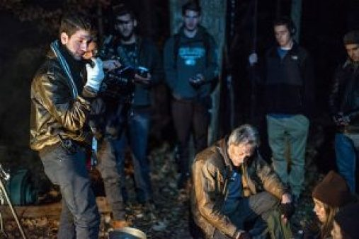 Akram directing senior actor Jim Louth as well as the young stars Katie and Logan during our first night shoot on the set of Project Nomadic in Chenango Valley, NY.