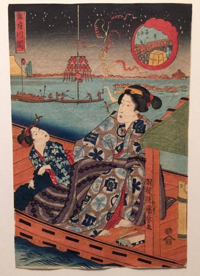 Utagawa Kuniyoshi, La fête de la rivière au pont de Ryōgoku, le cinquième mois, Série sans titre de beautés avec des enfants au fil des douze mois de l'année, vers 1836