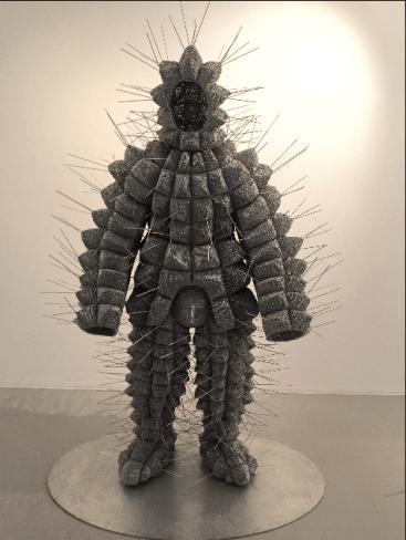 Walter Oltmann - Caterpillar Suit IV - Aluminum wire, 235 cm x 145 cm x 100