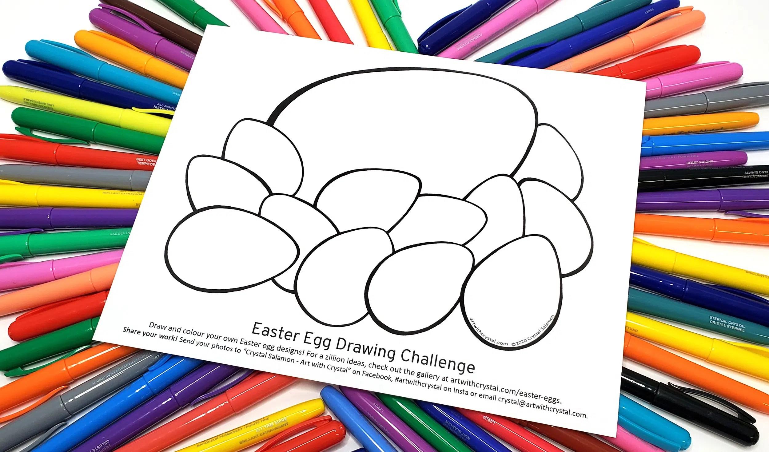 Easter Egg Drawing Challenge Free Printable Art With Crystal