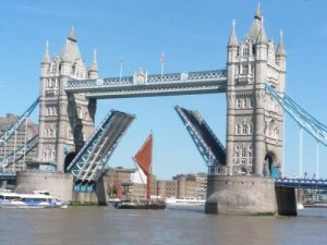 Tower Bridge raised