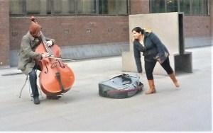 Bass busker in London, UK
