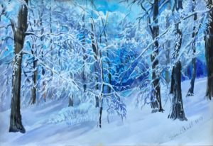 blue woods winter mountain watercolor